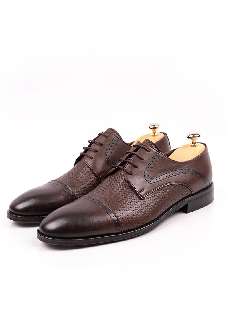 Мъжки кафяви елегантни обувки с връзки