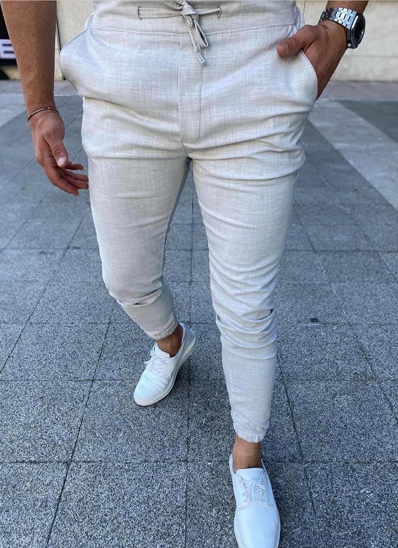 Мъжки спортно елегантен светло сив панталон