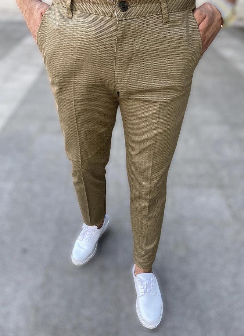 Мъжки елегантен кафяв панталон