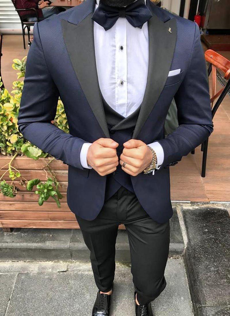 Мъжки втален смокинг в тъмно син цвят
