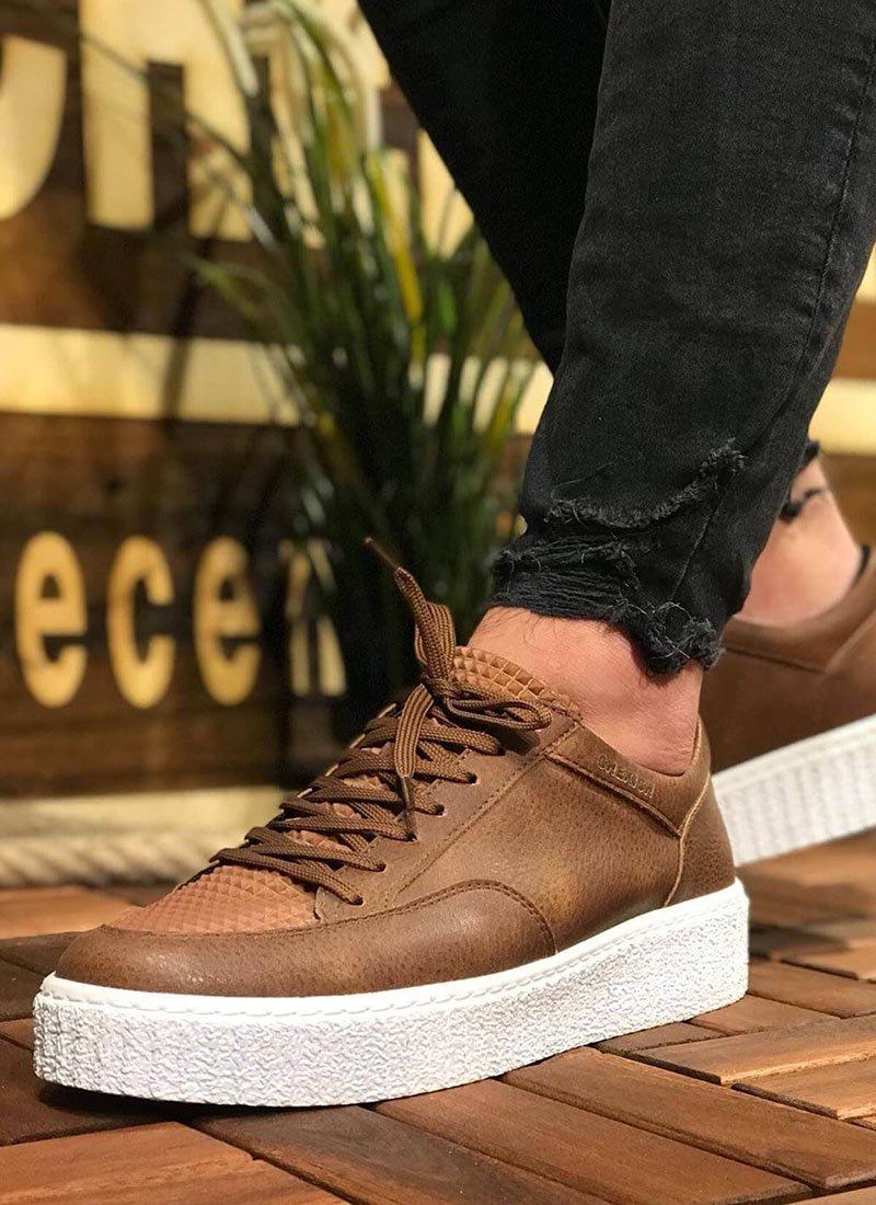 Мъжки обувки кафяв цвят релефни