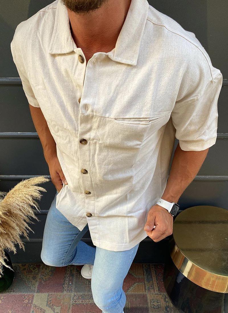Мъжка риза с къс ръкав цвят екрю