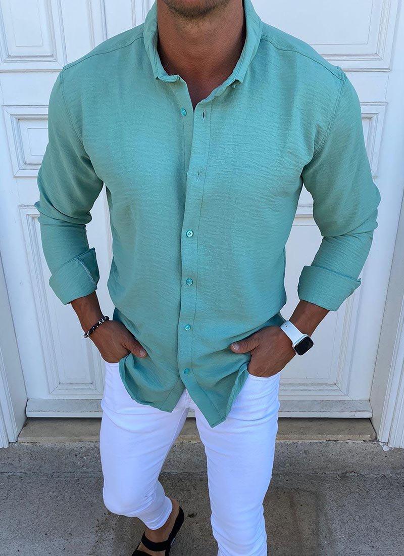 Спортно елегантна мъжка риза цвят мента