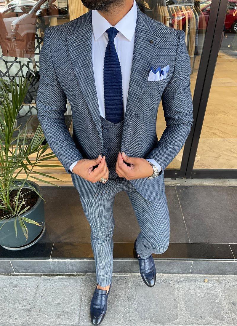 Мъжки елегантен син костюм