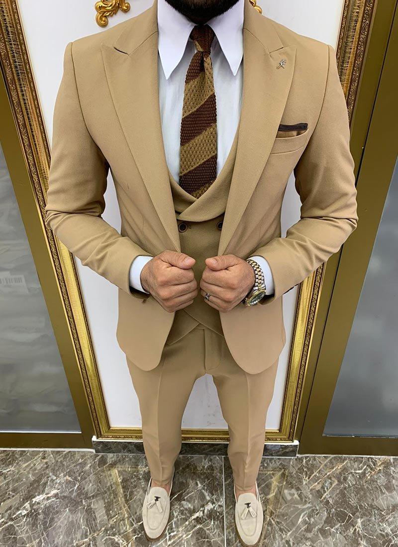 Мъжки втален светло кафяв костюм