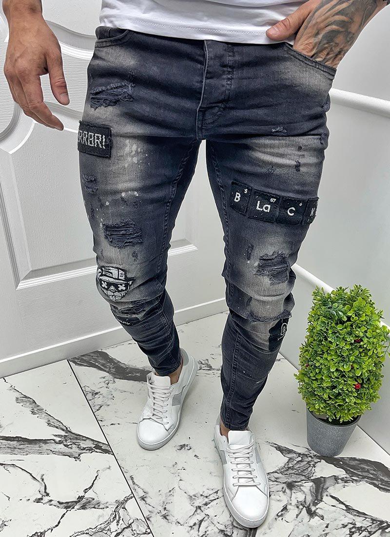 Мъжки черни изтъркани дънки с щампи