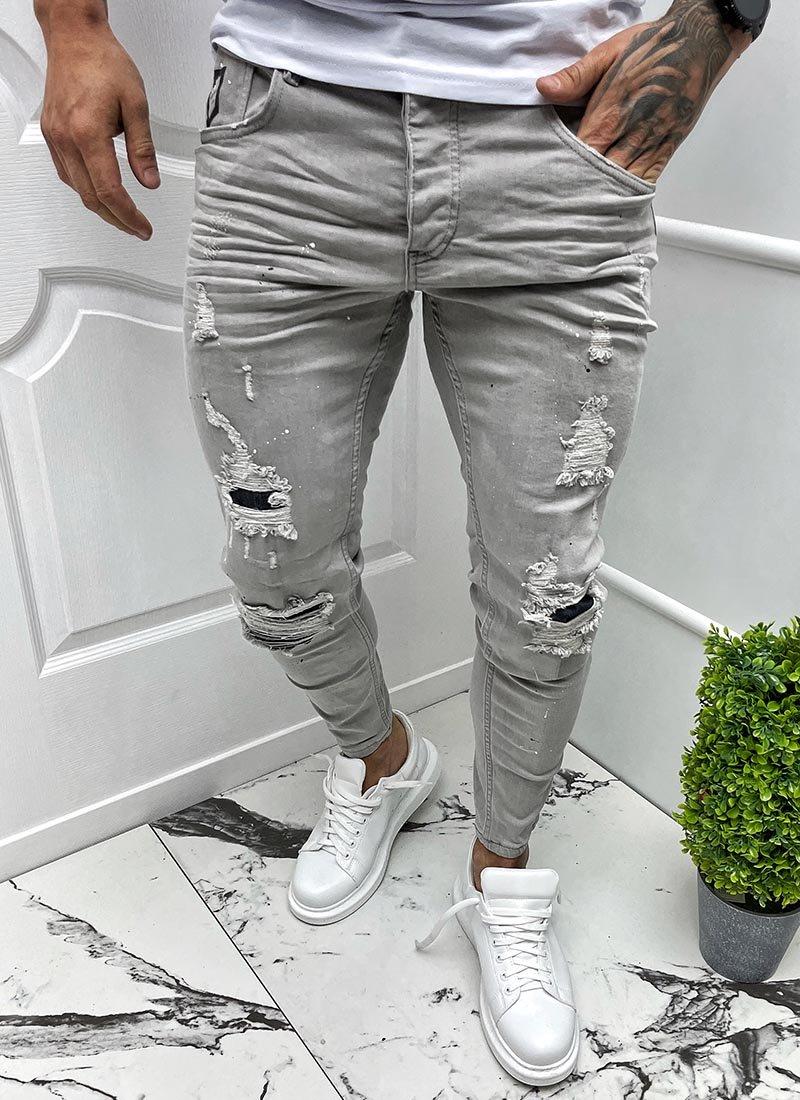 Мъжки сиви дънки с кръпки разнищени