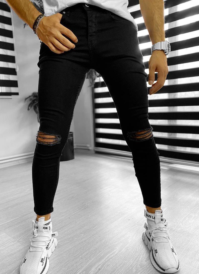 Мъжки черни изчистени дънки с цепки
