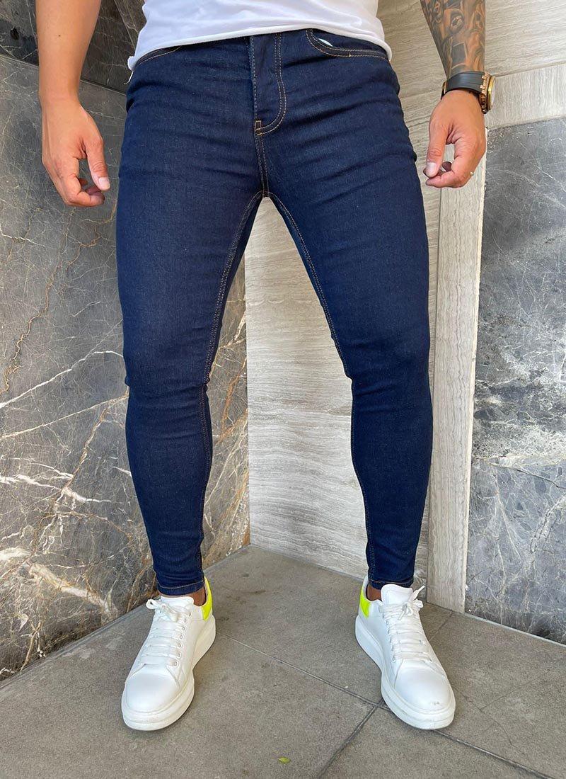 Мъжки тъмно сини изчистени дънки