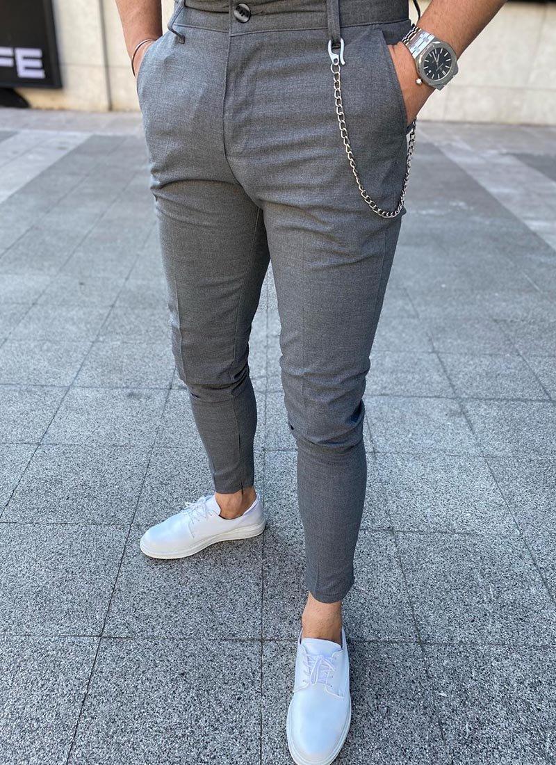 Мъжки елегантен сив панталон