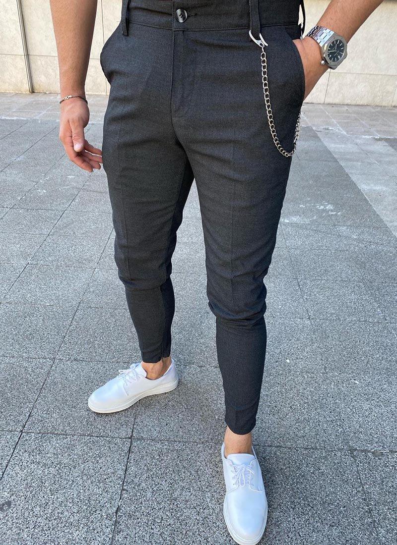 Мъжки елегантен тъмно сив панталон