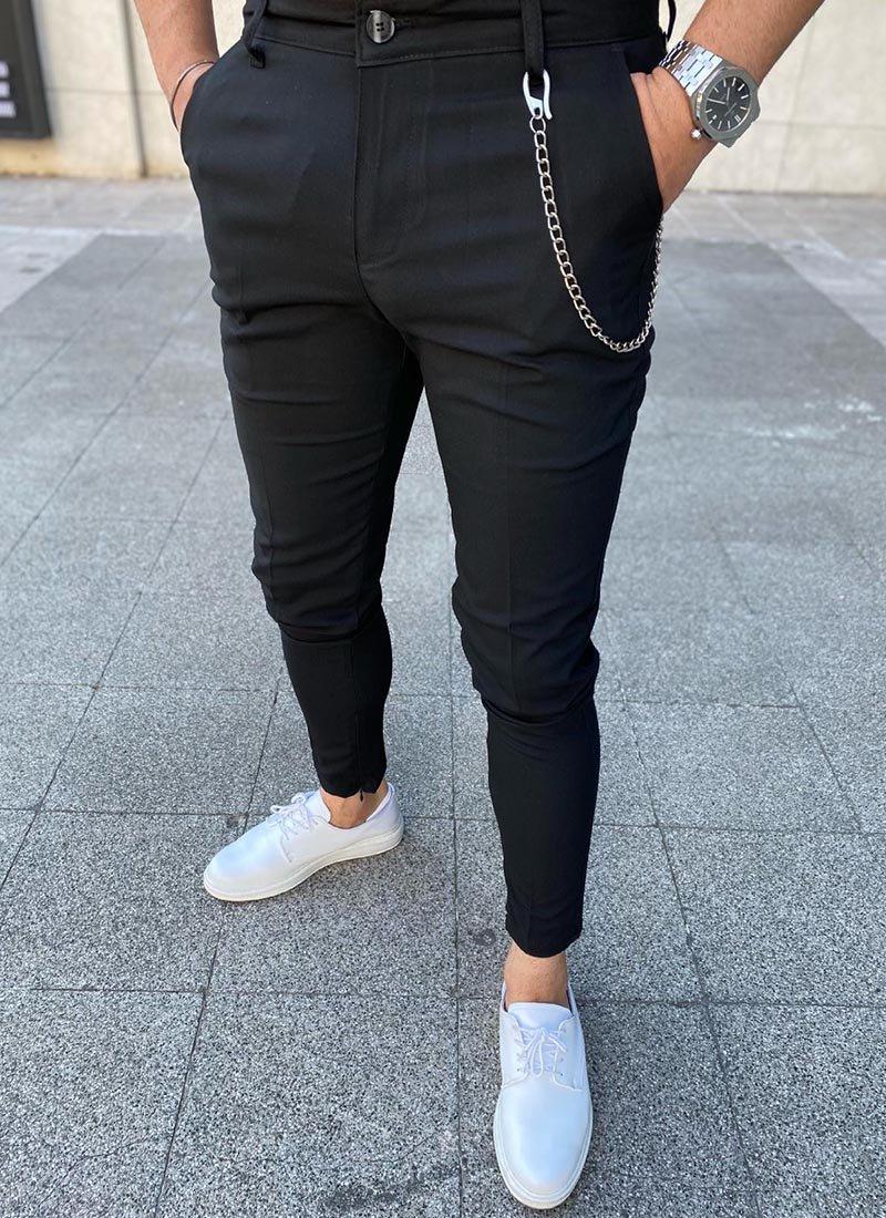 Мъжки елегантен черен панталон
