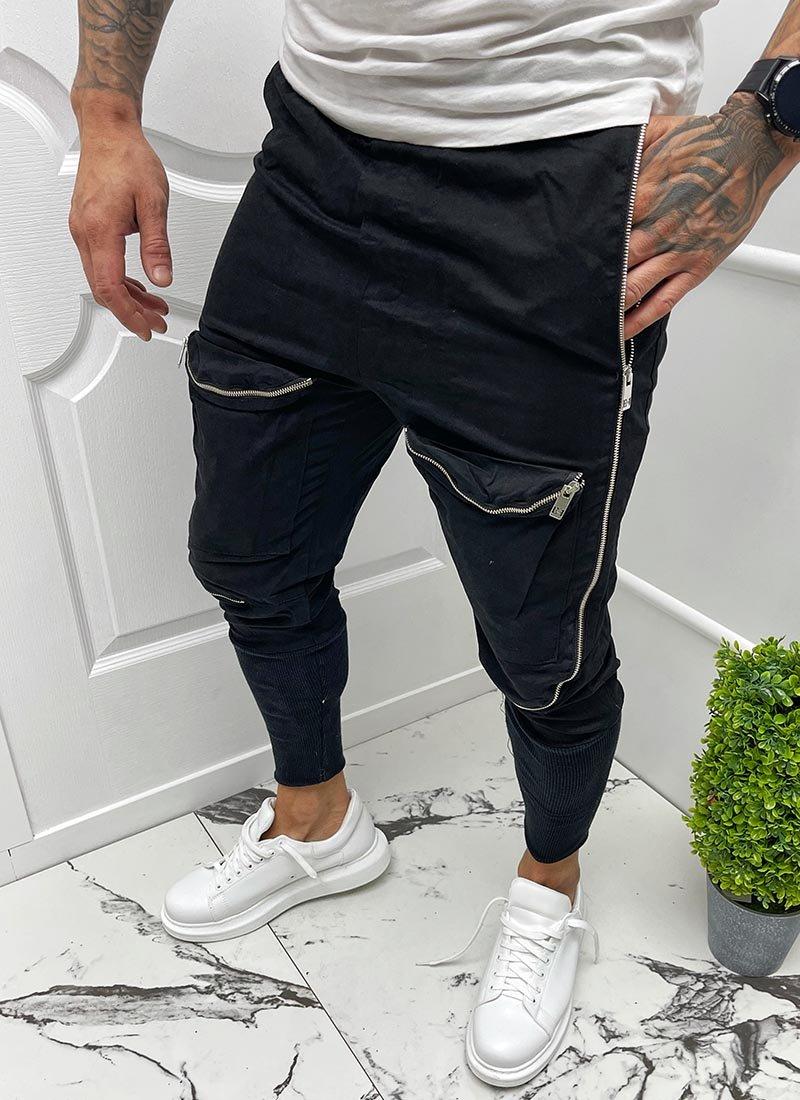 Мъжко черно спортно долнище с ципове