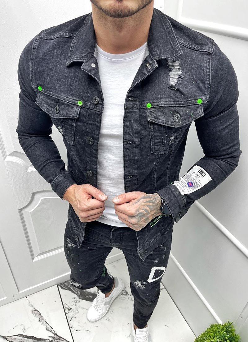 Мъжко дънково черно яке с надписи напръскано