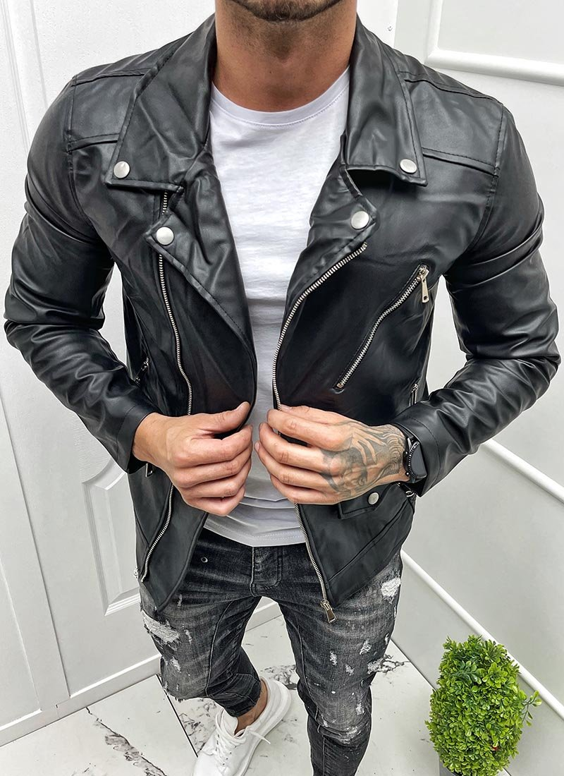 Мъжко кожено яке в черно с ципове