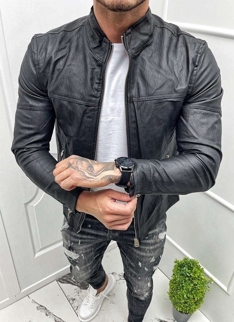Мъжко кожено черно яке изчистен модел