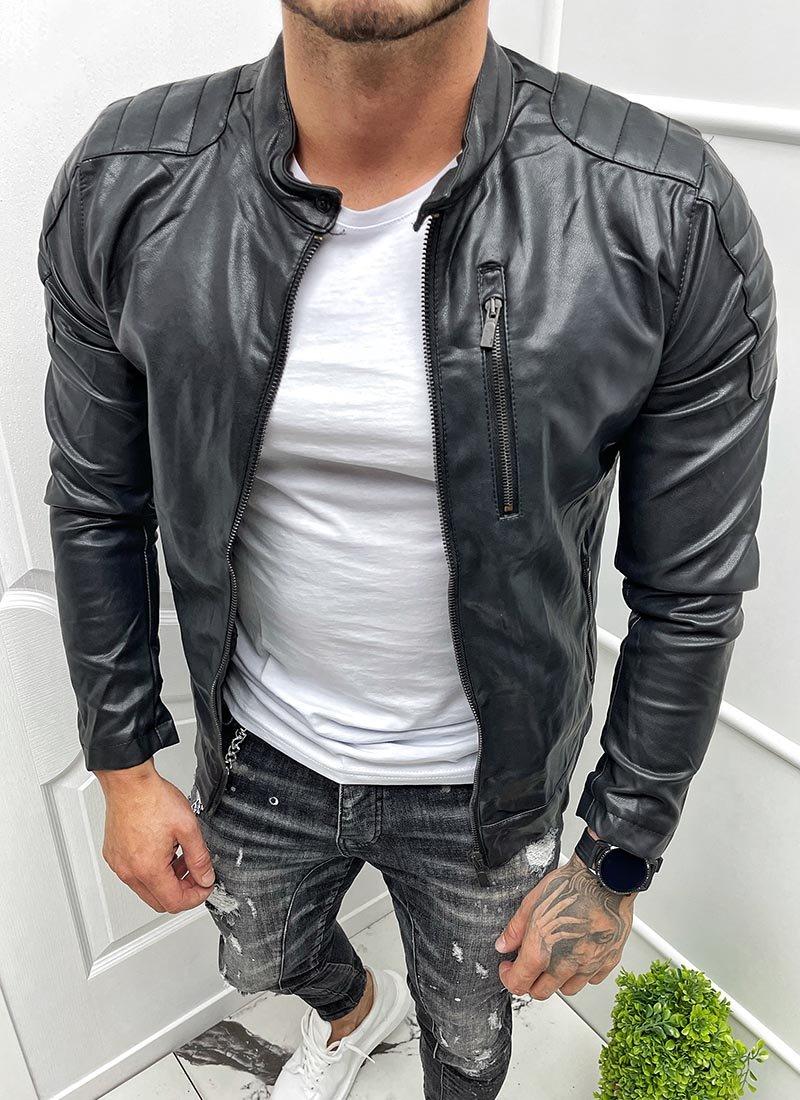 Мъжко кожено черно яке ципове