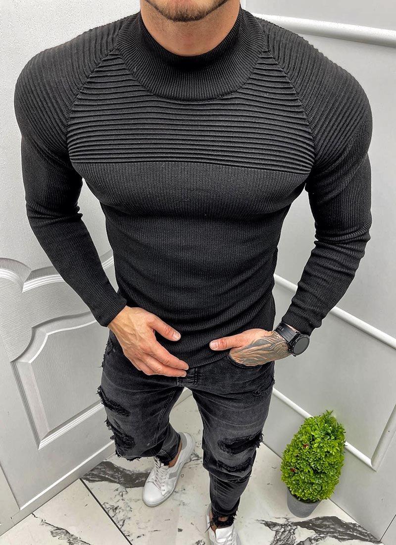 Мъжка блуза в черно полуполо яка