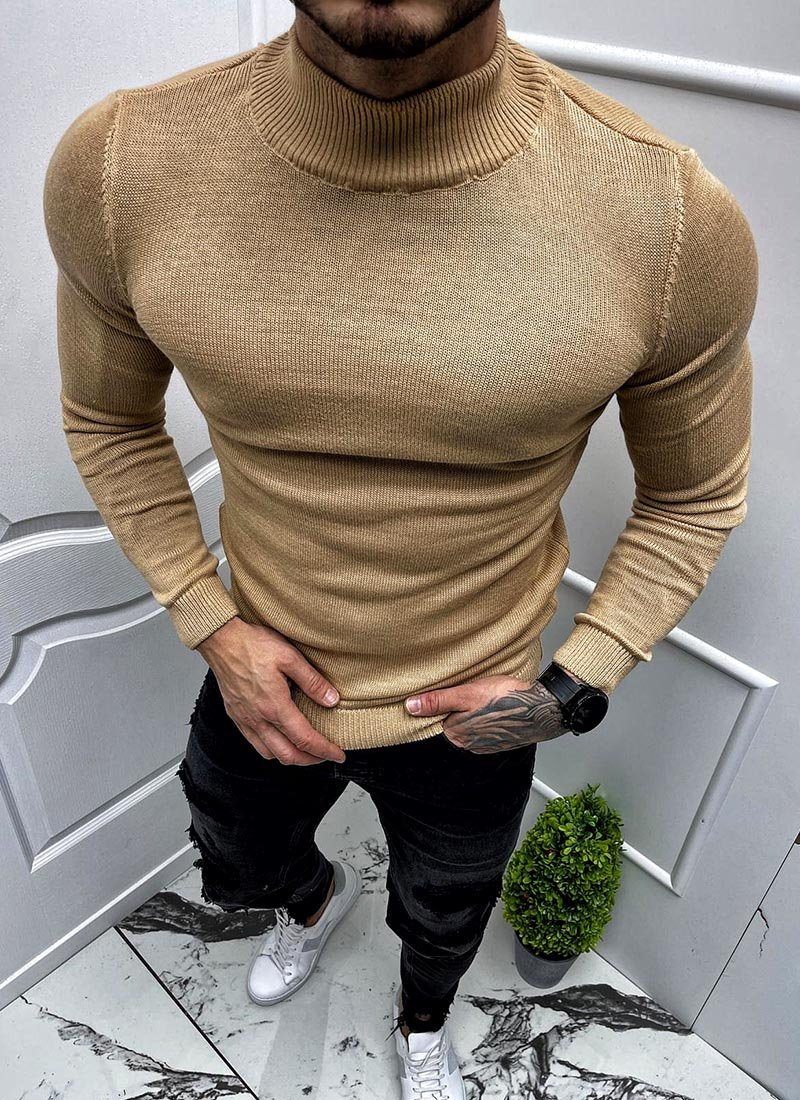 Мъжка бежова блуза полуполо