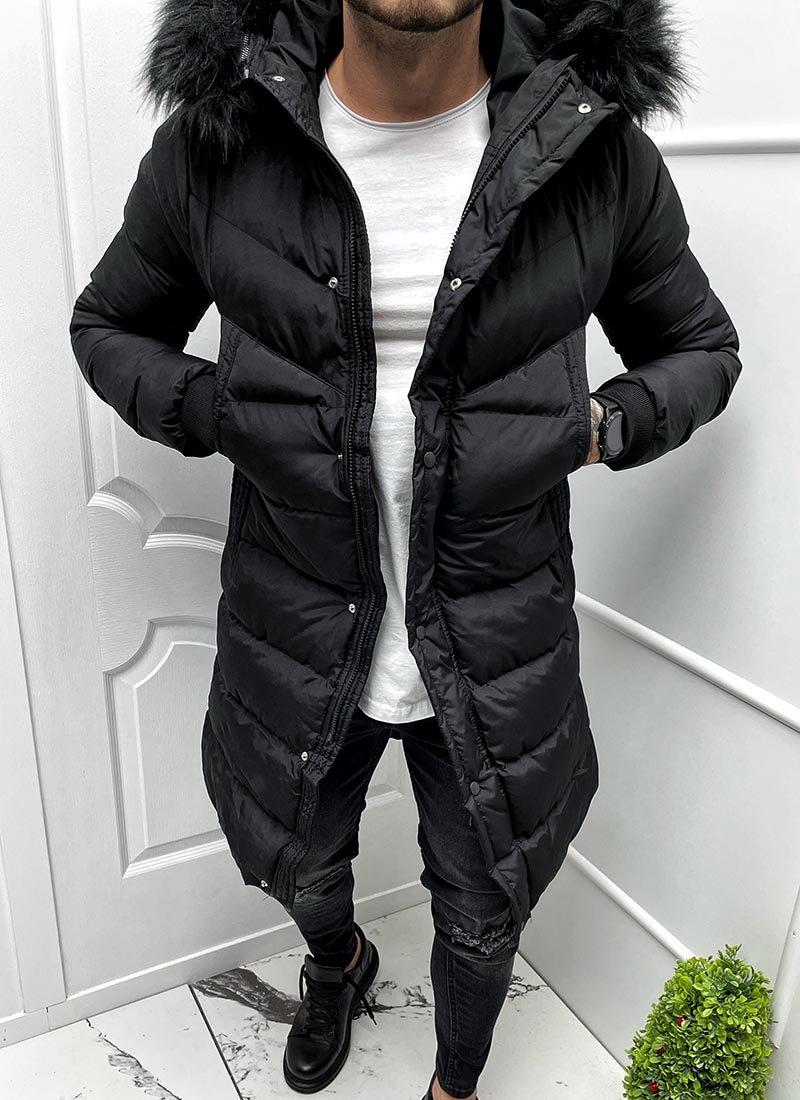 Мъжко дълго зимно шушляково черно яке с качулка